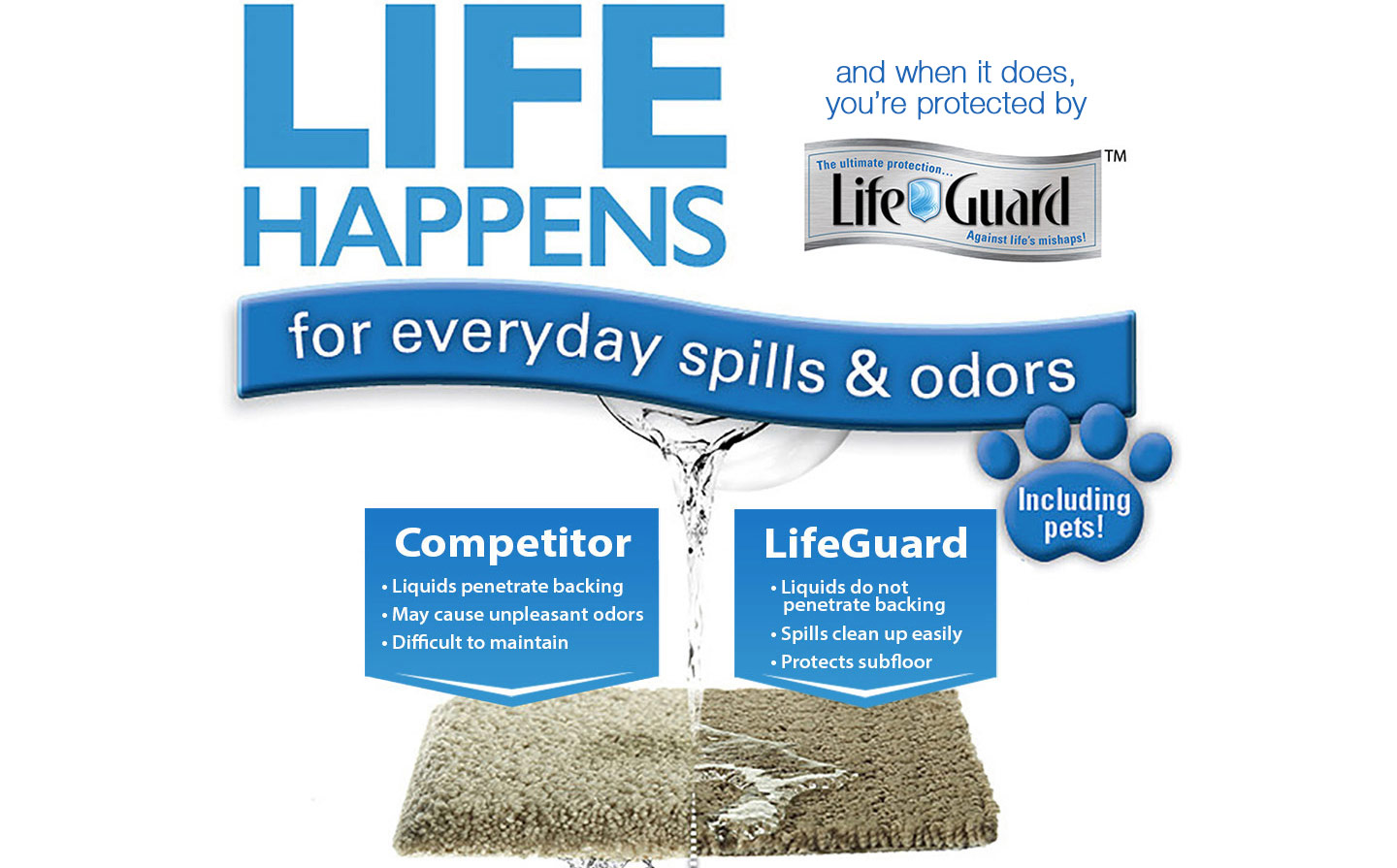 Life Happens and when it does you're protected by LifeGuard - for everyday spills & odors